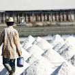 Man raking in the salt field — Stok fotoğraf