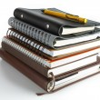 Stack of ring binder book or notebook - Stock Photo
