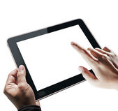 Hands holding tablet — Stock Photo