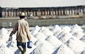 Hombre rastrillo en el campo de la sal — Foto de Stock
