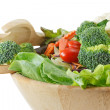 Wooden bowl of mixed salad — Stock Photo
