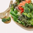 Wooden bowl of mixed salad — Stock Photo #13163363