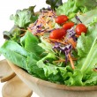 Wooden bowl of mixed salad — Stock Photo #13163423