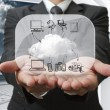 Stock Photo: Businessman show cloud network on glass board
