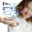 Businesswoman shows business process diagram — Stock Photo #13166045