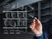 Business Mann Hand zieht das Internet-System-Diagramm — Stockfoto