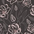 Seamless floral pattern with magnolia flowers — Stock Vector