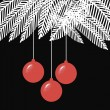 Royalty-Free Stock Vector Image: Black and White Christmas balls illustration with spruce branches