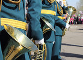 Wind instruments on parade — Stock Photo