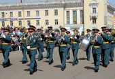 Military orchestra of wind instruments in the parade — Stock Photo