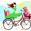 Woman riding a bicycle and shopping in spring — Stock Vector