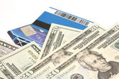 Bank cards and U.S. dollars — Stock Photo