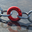 Stock Photo: Red solid circle creates solid chain