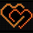 Valentine pixel hearts couple — Stock Vector