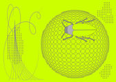 Bug on ball halftone background — Stockvector
