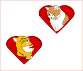 Valentine hearts with cats — Vector de stock