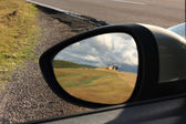 Rearviewmirror reflection — Stock Photo