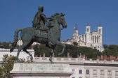Equestrian statue of louis xiv at place bellecour — Stockfoto
