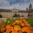 Flowerbed front of cluny abbey — Stock Photo