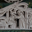 Nativity in wood carved — Stock Photo