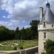 Tower and garden of the chateau of Chenonceau - Stock Photo