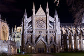 Westminster abbey illuminated by night — Stock Photo