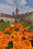 Torre di cluny abbey dietro fiori — Foto Stock