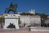 Equestrian statue of louis xiv at place bellecour — Stock Photo
