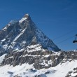 Stock Photo: Cableway and Matterhorn