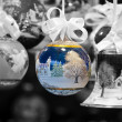 Decorated christmas balls and bell — Stock Photo