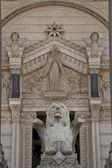 Lyon on the facade of notre dame de fourviere — Stock Photo