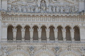 The facade of notre dame de fourviere — Stock Photo