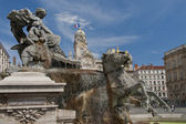 The fountain of bartholdi in place des terraux — Stock Photo