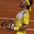 Fabio Fognini italian Tennis player exulting — Stock Photo