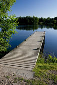 Wooden Pier on a Pond — Stock Photo