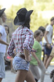 Cowgirl dancing — Stock Photo