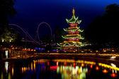 Pagoda in Tivoli Park illuminated — Stock Photo