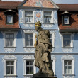 Statue and Historical House in Bamberg — Stock Photo