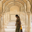 Indian Woman at the Amber Fort — Stock Photo