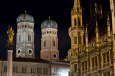 Towers of Frauenkirche in Munich by Night — Stock Photo