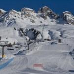 Mountains and Ski Slopes in Passo San Pellegrino — Stock Photo