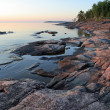 Ladoga shore at sunrise - Stock Photo