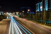 Night view of the street Orynbor. Astana, Kazakhstan. — Stockfoto
