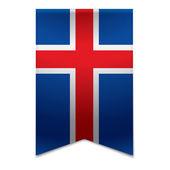 Ribbon banner - icelandic flag — Stock Vector