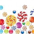 Colorful candies, fruit bonbon, lollipop — 图库矢量图片
