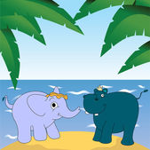 Elephant and hippopotamus — Stock Vector
