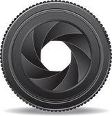 Camera lens shutter — Stock Vector