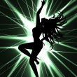 Stock Vector: Go-go dancer and laser show