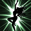 Go-go dancer and laser show - Stock Vector