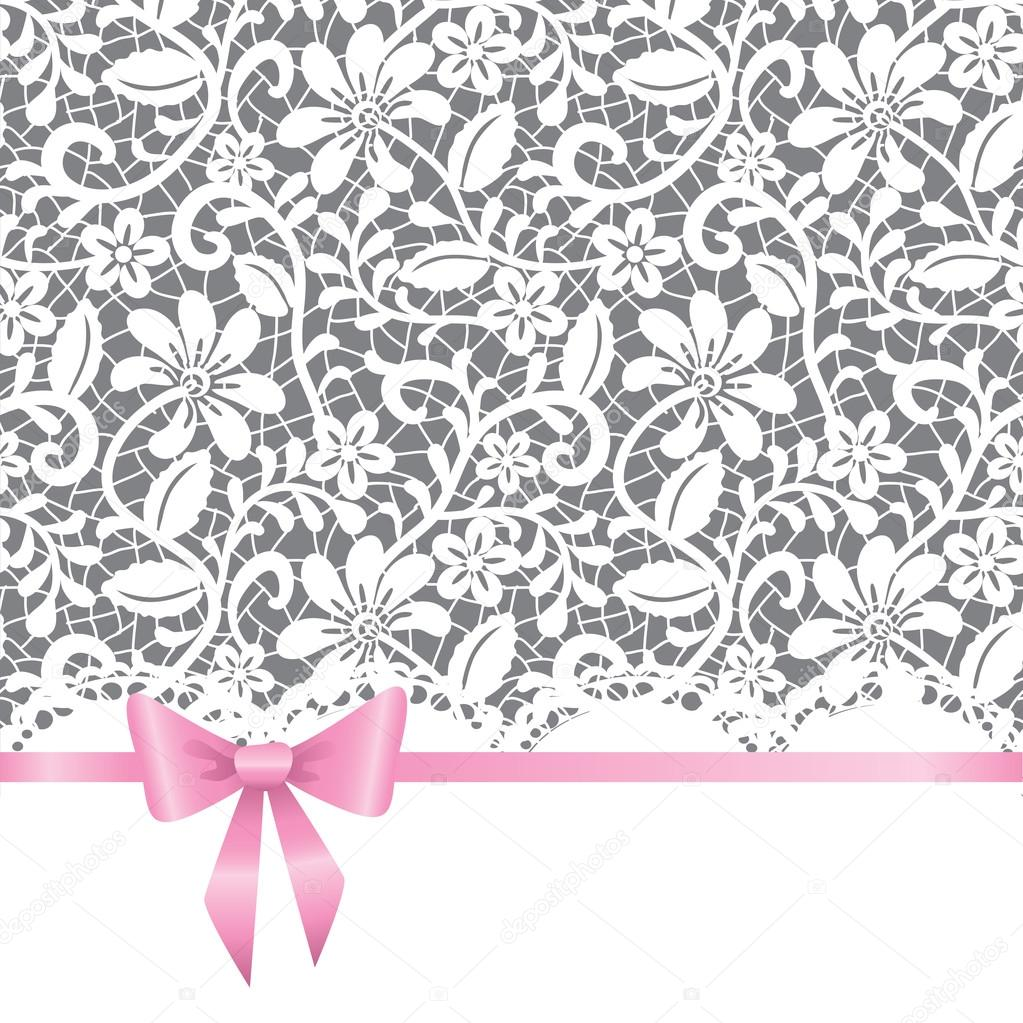 Vector template for wedding, invitation or greeting card with lace background and pink ribbon — Stock Vector #13294018